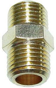 Dubbelnippel / verloop draadstuk van 1/4 inch draad naar 1/4 inch draad