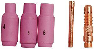 Nozzleset voor TIG lassen (1-6mm / 5 delig)