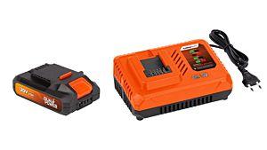 Lader + accu 20V.2.0AH LI-ION Dual Power