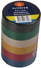 Pvc tape gekleurd (pak 6 stuks)