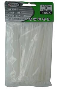 Tie-ribs / Kabelverbinders 2.5x100mm wit (100 DLG)