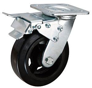 Zwenkwiel met dubbele rem 200x50mm rubber 270KG