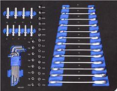 Ringratelsleutelset, dop, bit en inbusset 54DLG inlay foam voor gereedschapswagen