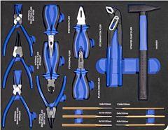 Hamer, doorslagen en tangenset 16DLG inlay foam voor gereedschapwagen