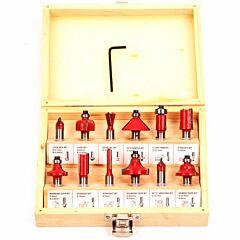 Bovenfreesset 12 delig + houten box