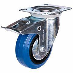 Zwenkwiel heavy + rem 100mm blauw model