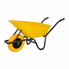 Kruiwagen geel kunststof bak 80 liter anti-lek