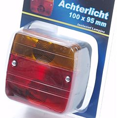 Achterlicht aanhangwagen vierkant 100x95 inclusief lampjes