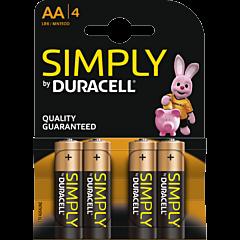 Batterijen Duracell AA 4 stuks