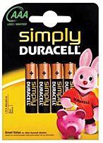Batterijen Duracell Simply 4 X AAA 1,5V LR03