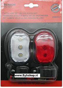 Fietslamp set 3x LED rood/wit (incl. batterijen)