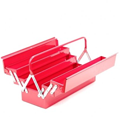 Gereedschapskist metaal rood (3 niveau's)