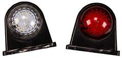 Breedtelamp/markeringslamp rubber rood/wit 80x40mm