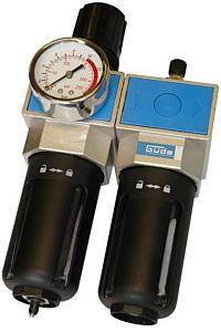 Waterafscheider + olievernevelaar met manometer en drukregelaar (complete onderhoudskit)