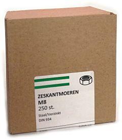 Zeskant moer VZ KL.8 SW-13 DIN934 M8 (250 stuks)