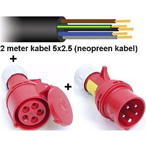2mtr Neopreen kabel 5x2.5+stekker+contrastekker 16a