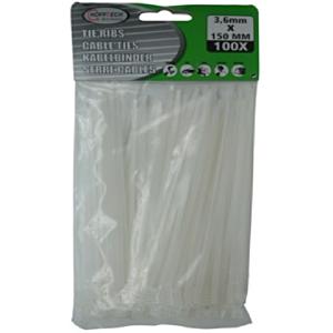 Tie-ribs / Kabelverbinders 3.6x150mm wit (100 DLG)