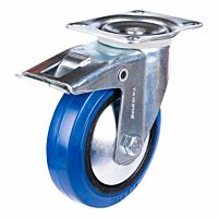 Zwenkwiel heavy + rem 125mm blauw model