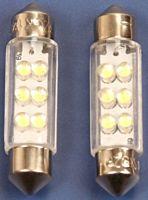 Buislamp 6X LED 12v. 11x38 wit (2 stuks)