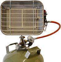 Gasstraler / gasheater met flesbevestiging + autom. ontsteking